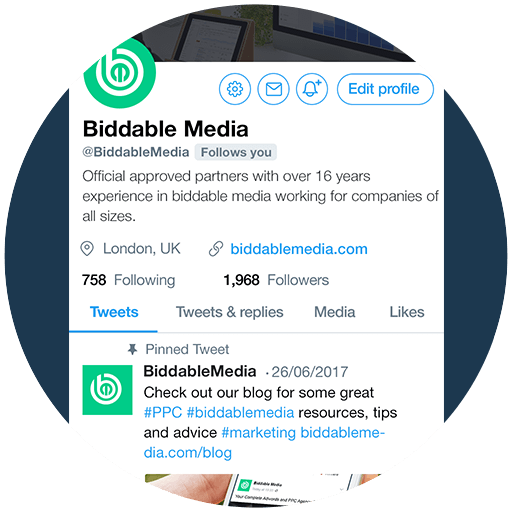 Biddable Media Twitter Profile
